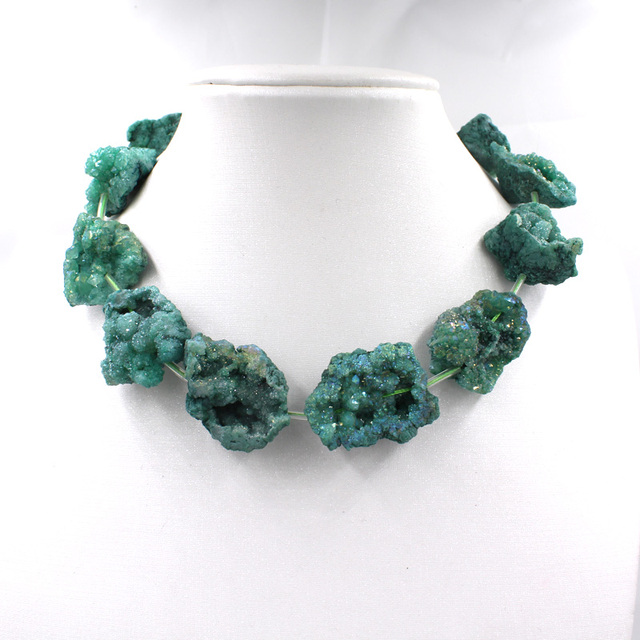 Dye Natural Original Stone Necklace Green Rock Crystal Quartz Druzy Geode Gravel Fit Fashion Jewelry DIY Making 1 strand