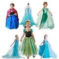 Новый эльза анна девушки платье принцессы для летних девочек ну вечеринку платья для девочек одежду, Детская одежда фантазия infantis vestido Menina