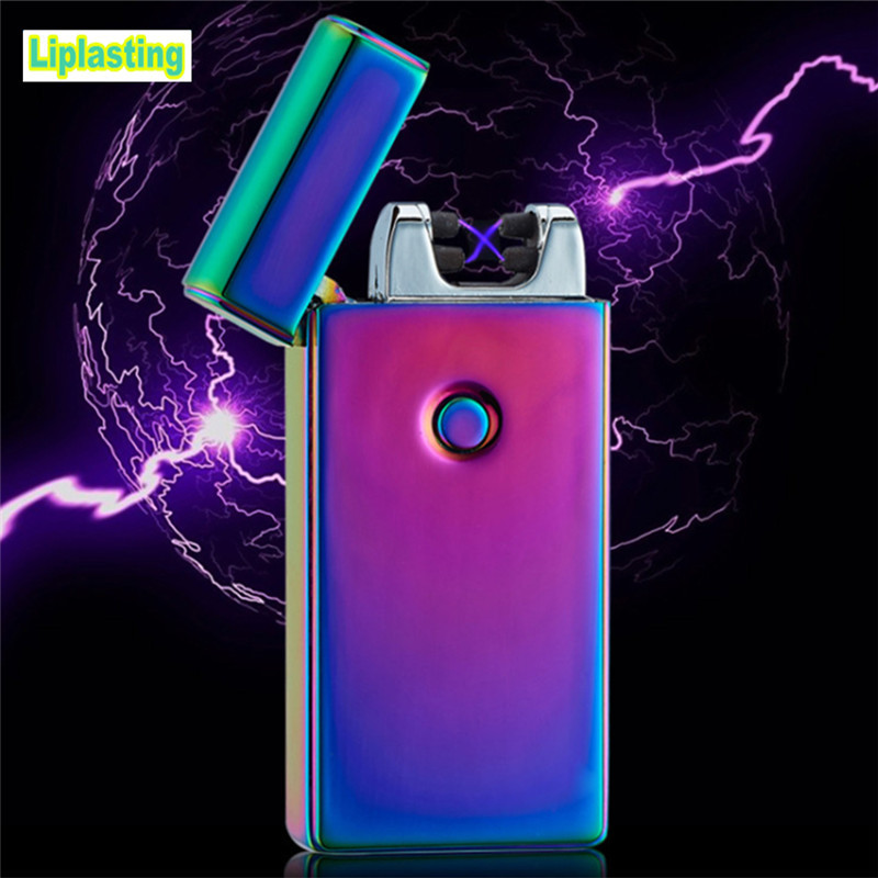 Liplasting 5 Colors USB Rechargeable Cigarette lighter Flameless Electric Dual Arc Metal Windproof Cigarette lighter Tool fly eagle fe808 usb rechargeable electronic cigarette lighter keychain green