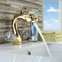 Deck Mount Dual Crystal handle Basin Faucet dragon shape Spout Sink Mixer Tap Gold Finish for washroom