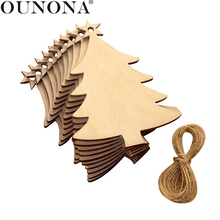OUNONA 10Pcs Christmas Tree Wooden Hanging Pendant Decoration Wood Ornaments Xmas