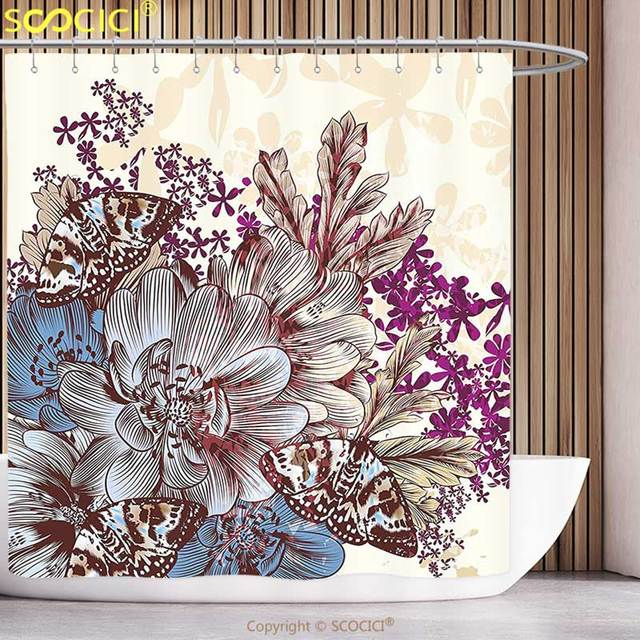 Cool Shower Curtain Floral Hand Drawn Pastel Color Flowers With Butterflies Vintage Detailed Image Blue Purple White Brown