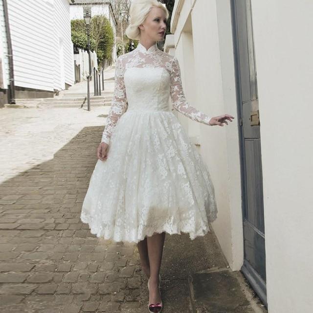 2016 Vintage Lace Wedding Dresses High Neck Long Sleeve Lique Tea Length Bridal Gowns Autumn