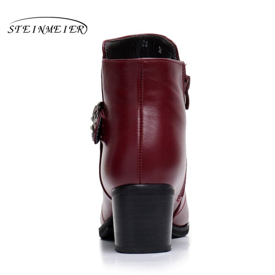 หนังแท้รองเท้าข้อเท้าที่มีคุณภาพสะดวกสบายรองเท้านุ่มบิ๊กสหรัฐขนาด9.5ยี่ห้อออกแบบที่ทำด้วยมือที่มีขน2018สีฟ้าสีดำสีแดง-ใน รองเท้าบูทหุ้มข้อ จาก รองเท้า บน   3
