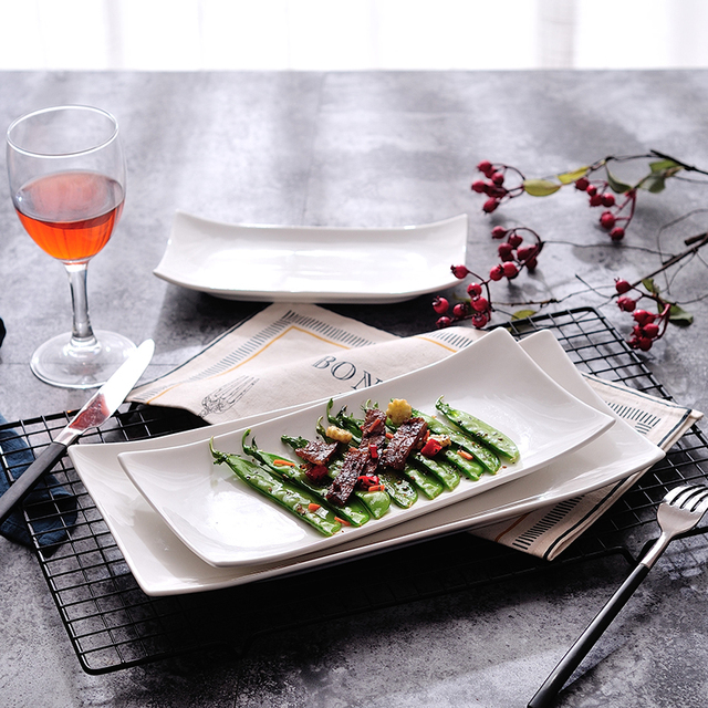 2PCS Western-style Modern Salad Dessert Friut Plate Ceramic Plates Microwave Oven Dishes Fish Plate & 2PCS Western style Modern Salad Dessert Friut Plate Ceramic Plates ...