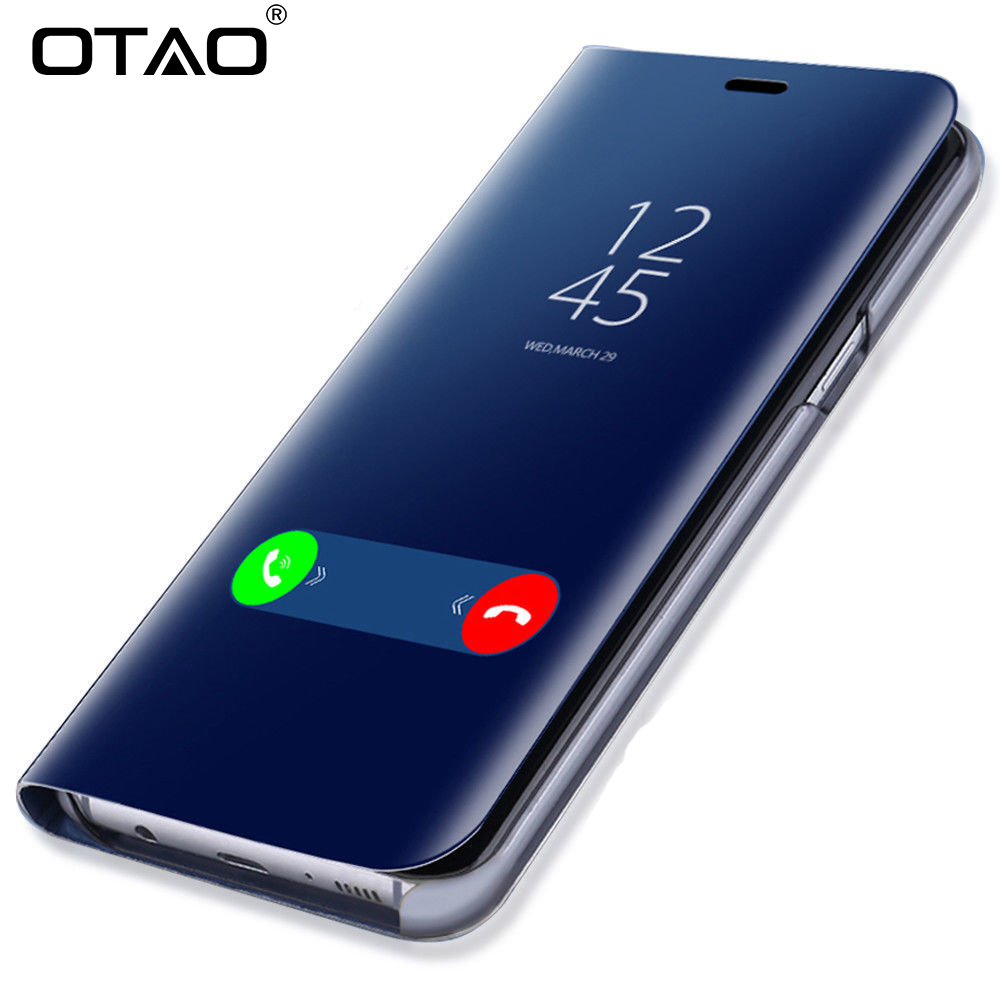 OTAO Clear View Smart Mirror Phone Case For Samsung Galaxy S9 S8 S7 S6 Edge Plus For Note 8 5 For A3 A5 A7 A8 2017 2018 Case Мотоцикл