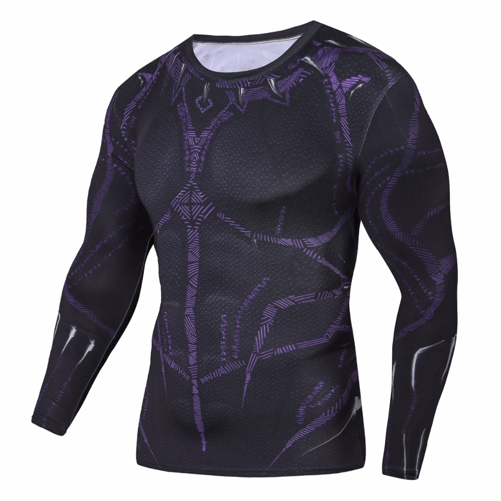 Sleeve Black Panther 3D Printed T shirts Men Compression Shirts 2018 NEW Crossfit Tops For Male BodyBuilding Clothing