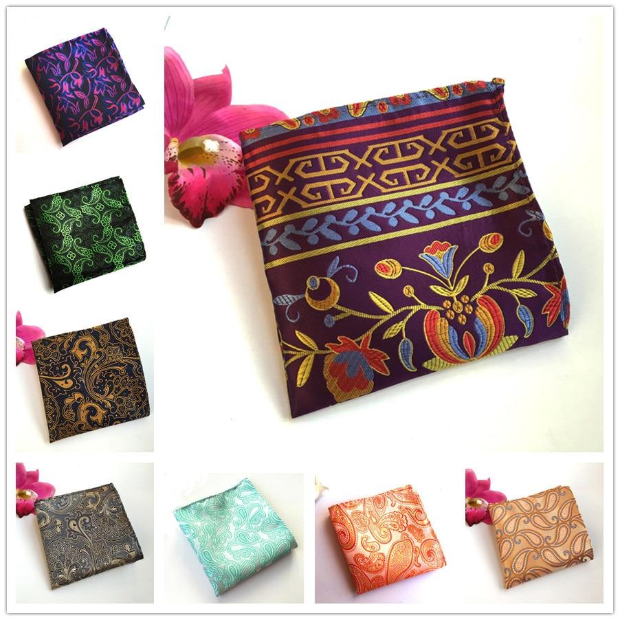 Unique Design Men Paisley Pocket Square High Quality Jacquard Woven Handkerchief Wholesale
