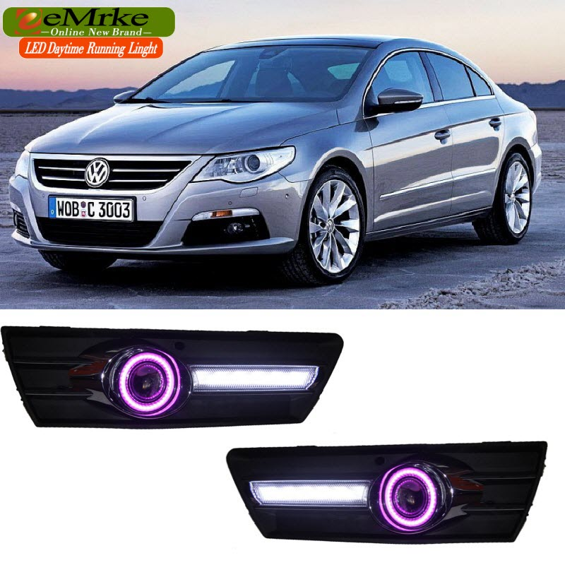 eeMrke LED Angel Eye DRL Daytime Running Lights For Volkswagen VW CC Halogen Bulbs H11 55W Fog Lamp Kits eouns led drl daytime running light fog lamp assembly for volkswagen vw golf7 mk7 led chips led bar version