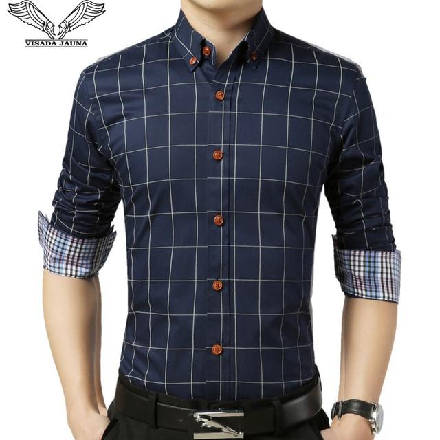 531d55f33de VISADA JAUNA Shirt Men 2017 New Arrival Plaid Slim Long Sleeve Casual  Fashion Clothing Business Plus Size 5XL Man Shirts N489