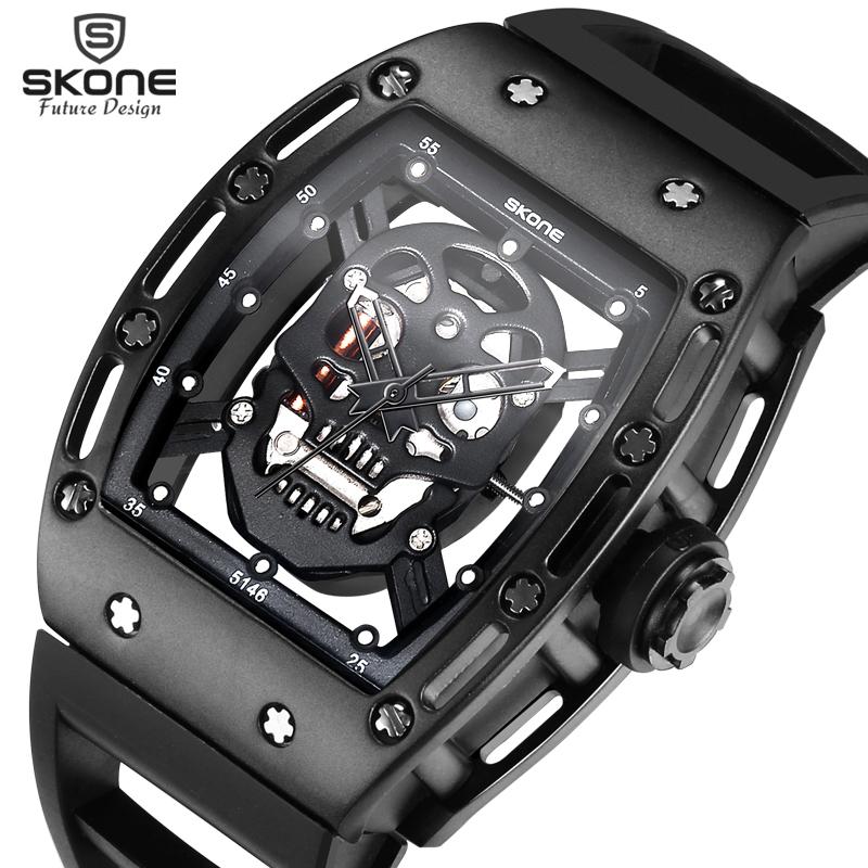 Prix pour 2017 SKONE Pirate Crâne Mens De Mode Squelette Lumineux Montres À Quartz avec Bracelet En Silicone Montre-Bracelet Militaire relogio masculino