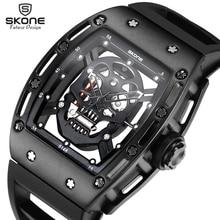 2017 SKONE Pirate Skull Mens Fashion Skeleton Luminous Quartz Watches with Silicone Strap Military Wristwatch relogio masculino