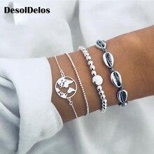 4pcs/set Bohemian Silver Chain Beads Bracelets Vintage Fashion Ocean Map Shell Bracelets Bangles Sets For Women Jewelry цена