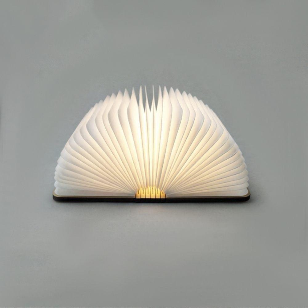 Lámpara de escritorio con forma de libro de madera plegable LED recargable USB Luz de noche para decoración del hogar luz blanca cálida