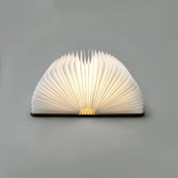 USB Rechargeable LED Foldable Wooden Book Shape Desk Lamp Nightlight Booklight For Home Decoration Warm White