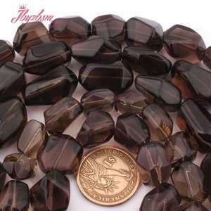 "Image 3 - 12x16 15x20 13x20 15x25mm Freeform Smokys Quartz Bead Natural Stone Beads For Necklace Bracelat Jewelry Making 15"" Free Shipping"