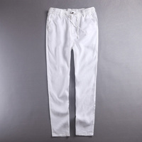 Brazil Style 100 Linen Long Pants Men Brand Clothing Trousers Mens Elastic Casual Trousers Men White