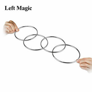 Street Magic Rings Linking Tricks 4 10cm Steel E3045 Four-Connected Pipe-Diameter 1sets