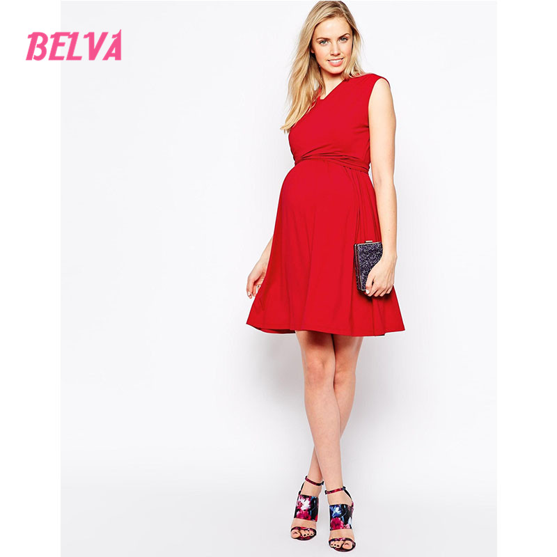 Belva Maternity Dresses Nursing Dress Pregnancy Clothes Beach Dress Ultra Soft Bamboo Fiber for Pregnant Women Blue Red DA612394 belva 2017 half sleeve maternity dress pregnancy for photo shoot photography props high quality bamboo fiber nursing dress	dr138