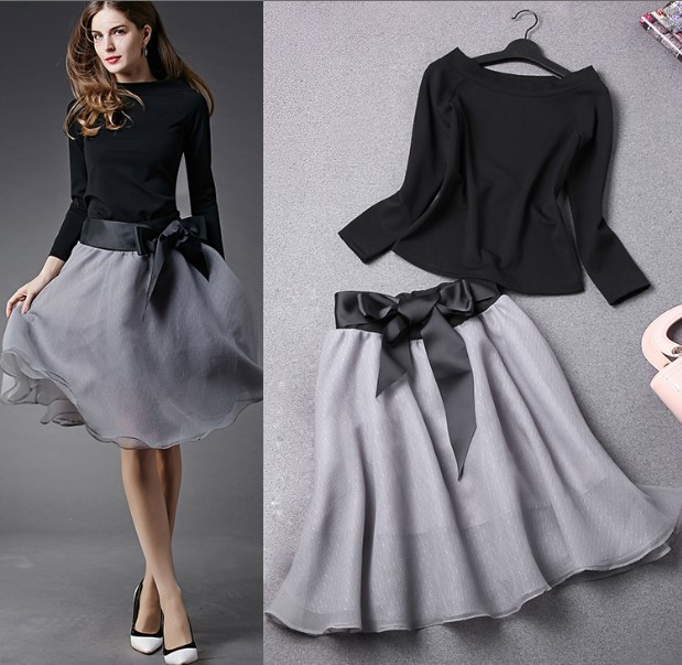 New-Spring-Summer-Women-s-Skirt-Suits-Elegant-Ladies-Black-Blouse-And-Pleated-SkirtWith-Bows-Clothing