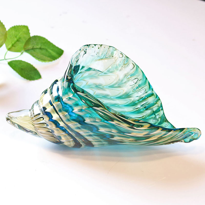 H D Hand Blown Glass Murano Art Style Seashell Conch Sculpture Ocean Multi color Home Office