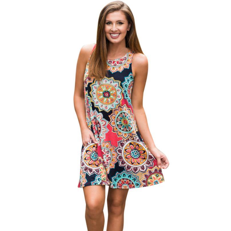2xl! Bohemian Printed Summer Vintage Dress Fashion Women Boho Floral Evening Party Vestidos Elegant Office Bodycon Cloth #ZR1845