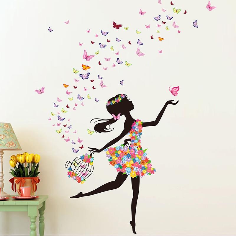 [SHIJUEHEZI] Fée Fille Stickers Muraux BRICOLAGE Papillons Fleurs Birdcage Stickers Muraux pour Enfants Chambre Décoration Accessoires