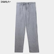DANALA Casual Men Sleep Bottoms Striped Leggings For Nightwear Home Clothes Sleepwear