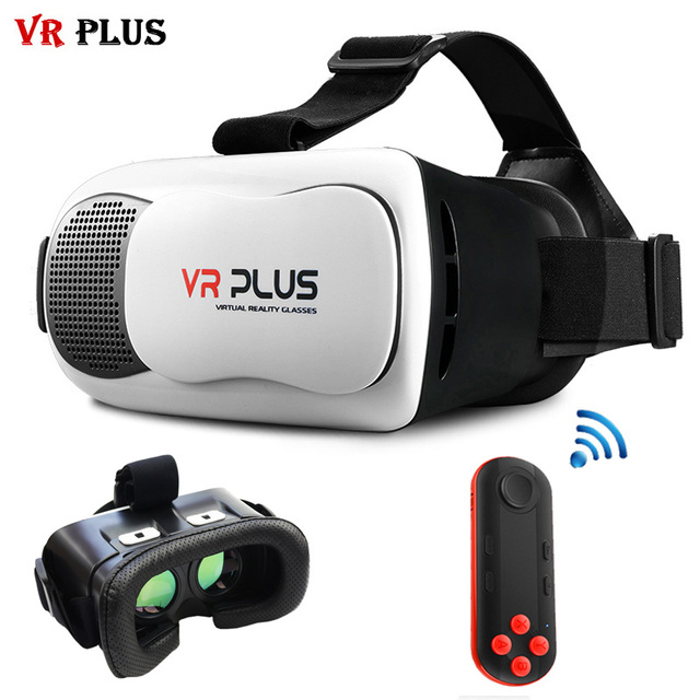 VR BOX 3.0 VR Plus Soft Leather Coating Glass Lenses 3D Glasses Mobile Virtual Reality Goggle Cardboard Headset for4-6' + Remote