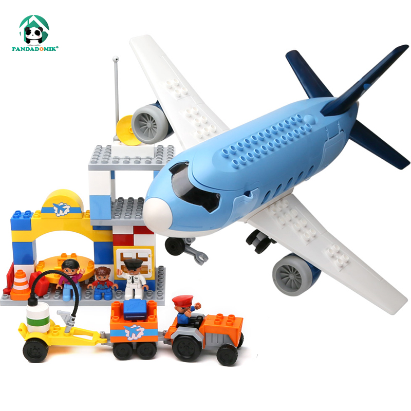 Large Size Happy Airport Plane Building Blocks Baby Construction Educational Toys duplo Compatible Bricks Toy for Children Kids air passenger plane duplo toy large