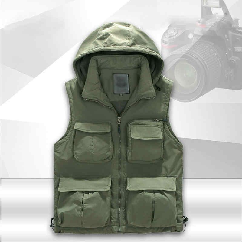 Mannen Multi-pocket Warm Houden Vest Mannelijke Multifunctionele Vissen Vest Cargo Jassen Quick Dry Outdoor Leisure Fotografie Vesten