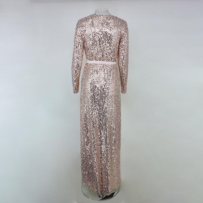 22975dff555a8 US $28.59 5% OFF|Joyfunear Sexy Club Wear Party Dress Womens Pink Gold Knot  Deep V Neck Twist Front High Slit Long Sleeve Sequin Maxi Dress-in Dresses  ...