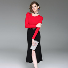 2017 new brand runway top quality women autumn fashion knitting package hip dress brief empire full slim party mermaid dress
