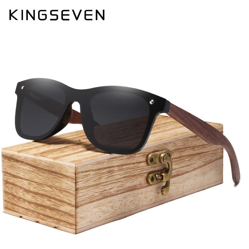 KINGSEVEN 2020 Mens Sunglasses Polarized Walnut Wood Mirror Lens Sun Glasses Women Brand Design Colorful Shades Handmade 10