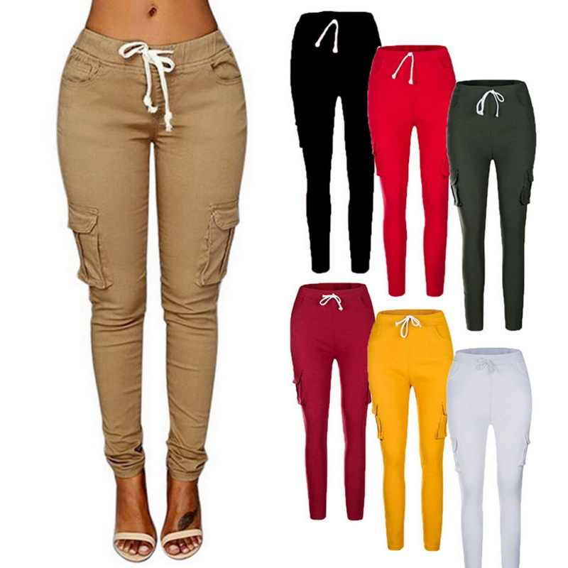 NIBESSER Spring Women Pencil Pant Lace Up Waist Casual Women Pants Solid Multi-Pockets Plus Size Cargo Pants Slim Fit Trousers