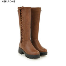 NEMAONE Winter women Boots Punk Women Thick high Heel lace up knee high Boots Black beige brown Shoes woman