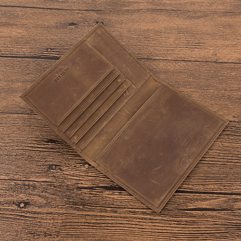 Vintage Crazy Horse Leather Passport Holders Genuine Leather Passport Covers 589 Credit Card Holder RFID Travel Document Cover in Card ID Holders from Luggage Bags