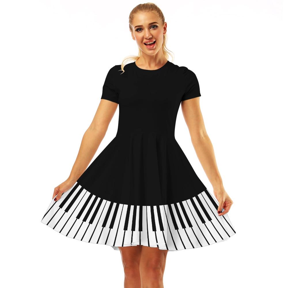 Женское винтажное платье с принтом пианино, платья с коротким рукавом, черное эластичное повседневное летнее платье размера плюс, женская одежда 2019