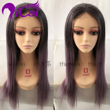 Purple Front Lace Wig Brazilian Virgin Hair Nature Hairline With Baby Hair Straight Bob Ombre 2 Tone 1B Purple Full Lace Wig