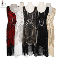 Women Party Dress 1920 s Great Gatsby Flapper Vestidos Sequin Bead Fringe Dress Evening V Neck Embellished Fringed Sleeveless