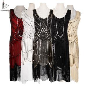 Image 1 - Women Party Dress 1920 s Great Gatsby Flapper Vestidos Sequin Bead Fringe Dress Evening V Neck Embellished Fringed Sleeveless