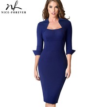 Nice forever Vintage Elegant Retro Wear to Work Solid Color vestidos Business Party Bodycon Office Women Dress B471