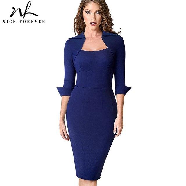 Nizza für immer Vintage Elegante Retro Tragen zu Arbeiten Einfarbig vestidos Business Party Bodycon Büro Frauen Kleid B471