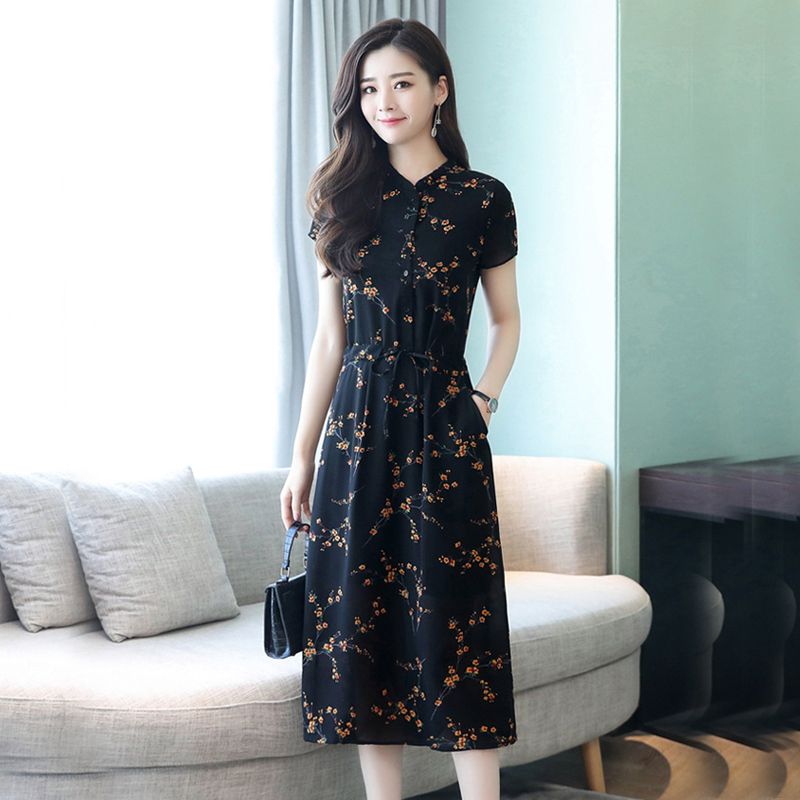 US $26.0 |ladies short black chiffon dress for woman summer 2018 runway  print floral plus size large party midi robe flowers slims dresses-in  Dresses ...
