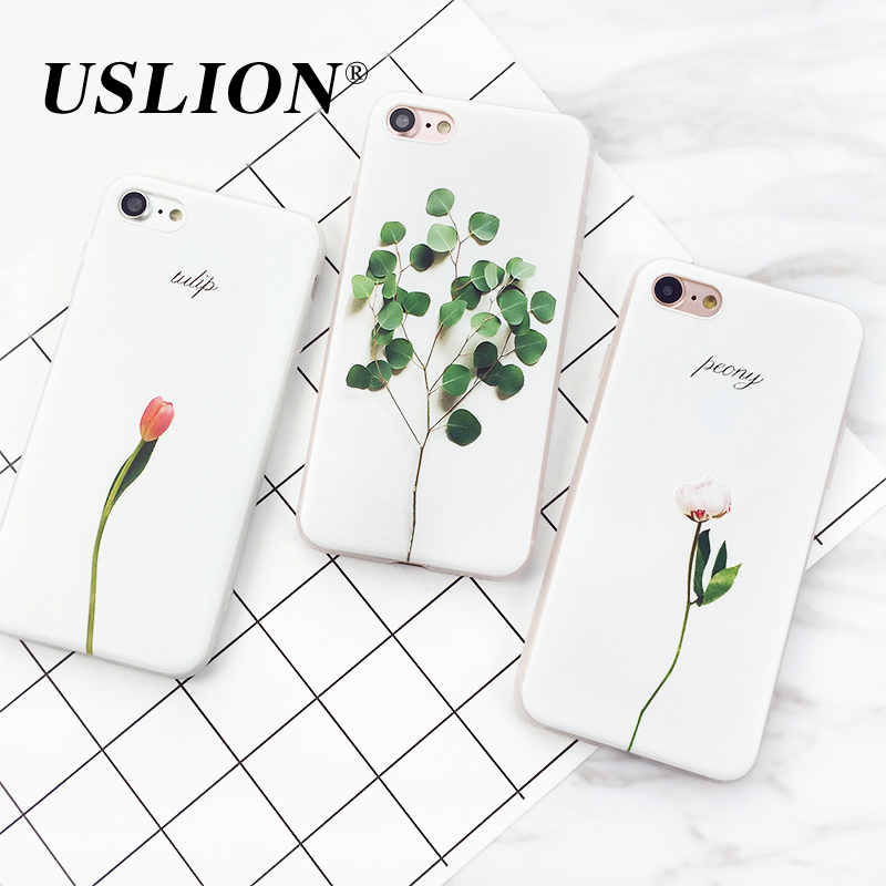 USLION Simple Plant Paint Phone Case For iPhone 7 5 5s SE 6 6s Plus Flowers Leaves Soft TPU Back Cases Cover For iphone 7Plus