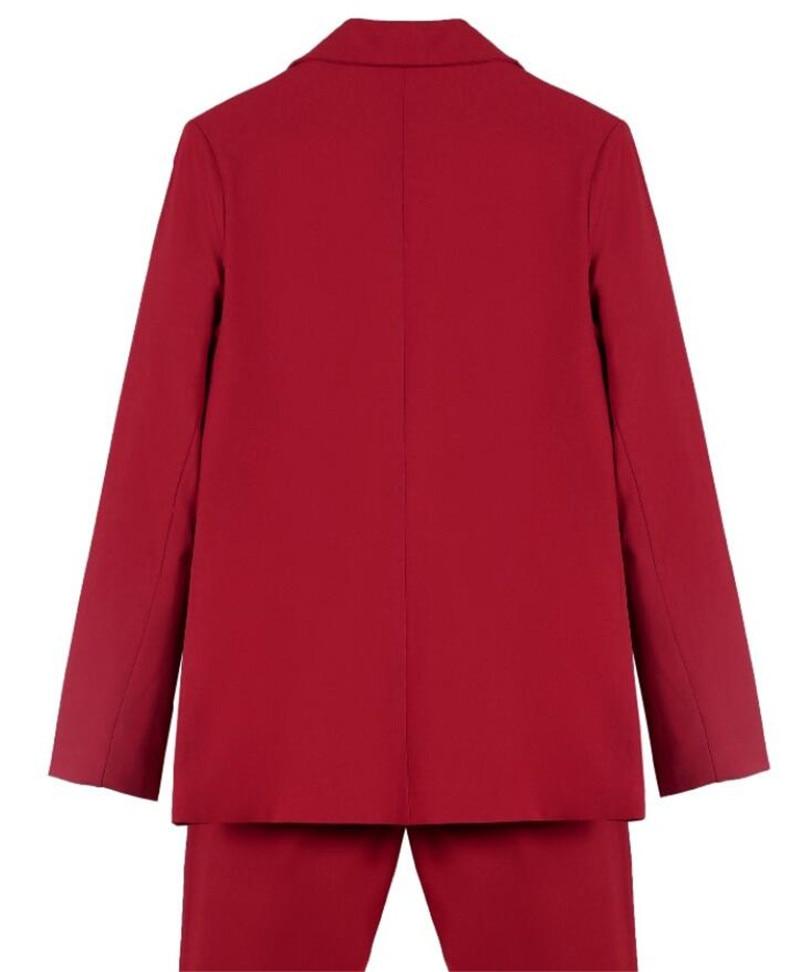 赤女性パンツスーツタキシード 2 個セット (ジャケット + パンツ) 女性ビジネススーツ女性オフィス制服レディースパンツスーツカスタムメイド  グループ上の レディース衣服 からの パンツスーツ の中 2