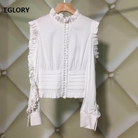 High Quality Designer Blouse Runway 2019 Vintage Shirt Women Ruffled Collar Tunic Buttons Shirt Ladies Sexy Off Shoulder Tops