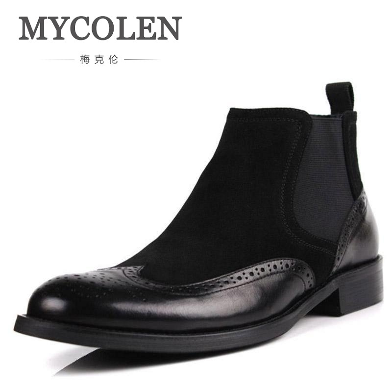 MYCOLEN Chelsea Boots Pointed Toe Men Patchwork Leather Black Brand Quality Solid Spring Slip-on Ankle Casual Shoes Botas mycolen brand new chelsea boots british style fashion comfortable male thick soles ankle boots slip on casual shoes botas hombre