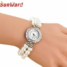 SunWard Wacthes Girls College students Stunning Trend Model New Golden Pearl Quartz Bracelet Watches 2017 NEW Drop Transport