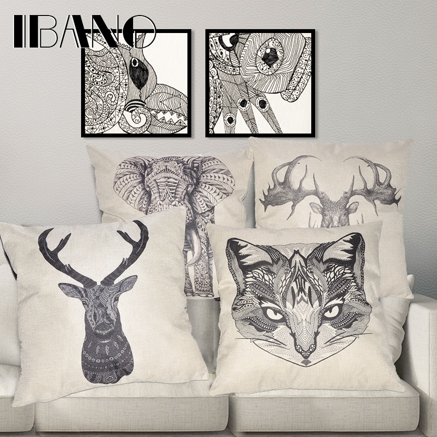 "45x45cm/17.7×17.7"" Linen Cushion for Decorative Animal Printed Decorative Cushion Home Decor Pillow Cover"